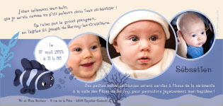 Faire part bapteme original marin