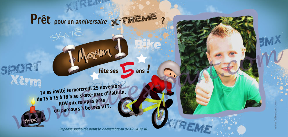 invitation anniversaire garcon sport extreme bmx skate. Black Bedroom Furniture Sets. Home Design Ideas