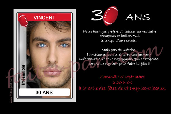 Invitation Anniversaire Homme Jeune Ou Adulte Rugby