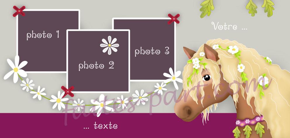 Extrêmement Carte d'invitation pour anniversaire personnalisée avec photos, cheval OW73