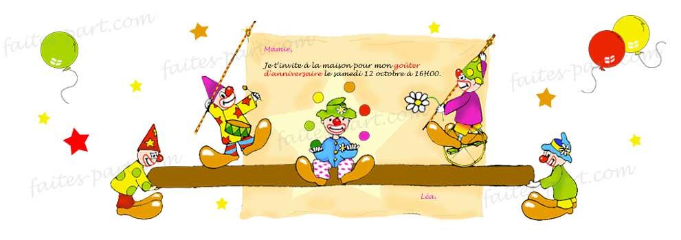 Invitation Anniversaire Clown Et Cirque A Imprimer Soi Meme