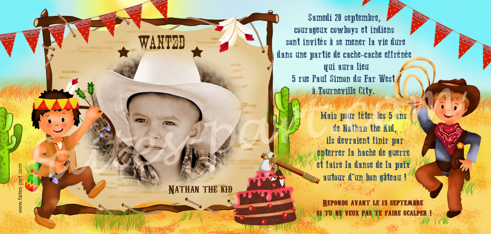 Top Cartes d'invitation personnalisée pour anniversaire, cow-boy et indien QD88
