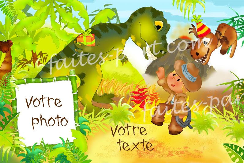 Carte Personnalisable Dinosaures Avec Photo Pour Anniversaire