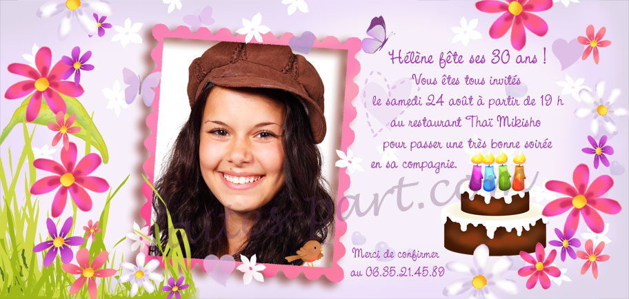 Top Carte d'invitation pour anniversaire adulte avec montage photo  RV94