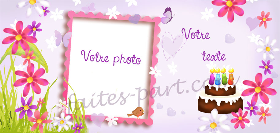 Super Carte d'invitation pour anniversaire adulte avec montage photo  BE45