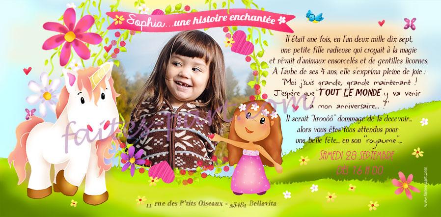 Carte Personnalisable Anniversaire Thème Licorne Au Pays