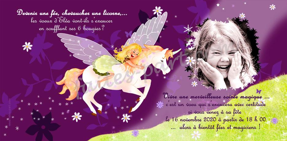 Carte Personnalisee Avec Photo Pour Anniversaire Licorne Ailee