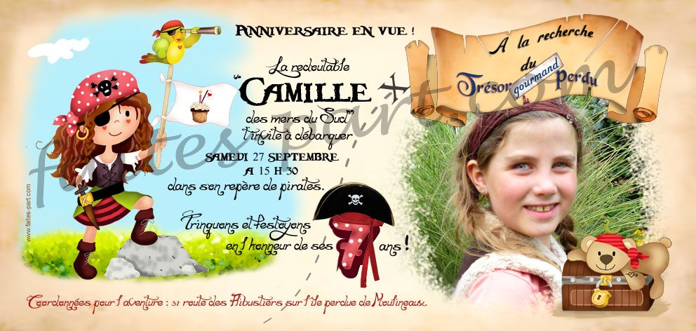 Top Invitation anniversaire pirate fille QD88
