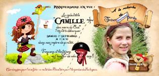 Carte d'invitation pirate fille