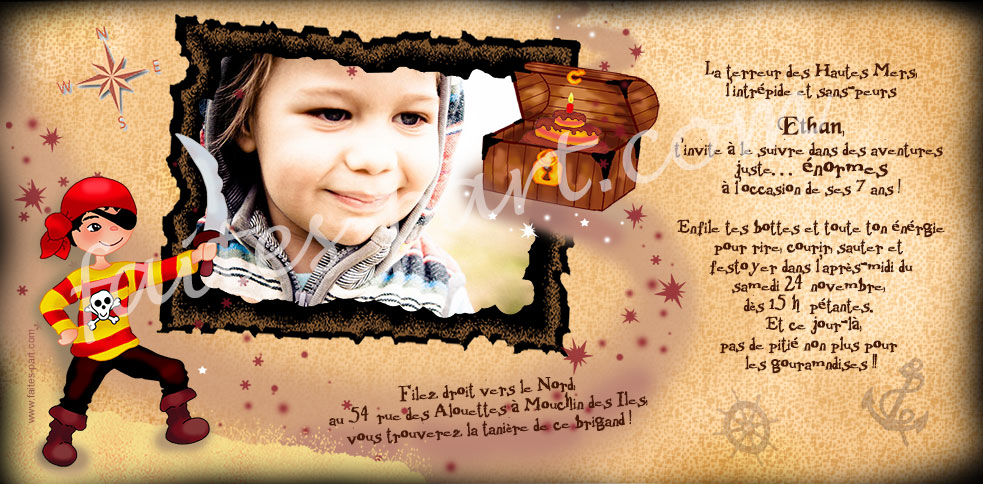 Carte D Invitation Pirate Pour Anniversaire Original