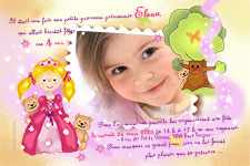 photocarte d'invitation anniversaire princesse