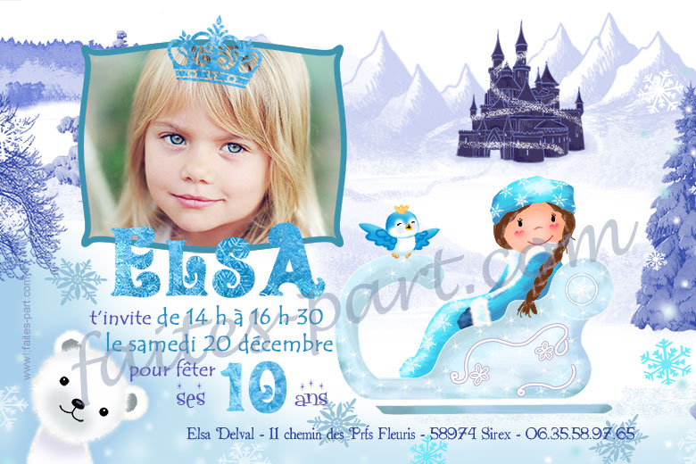 Favori Invitation anniversaire Reine des neiges EZ41