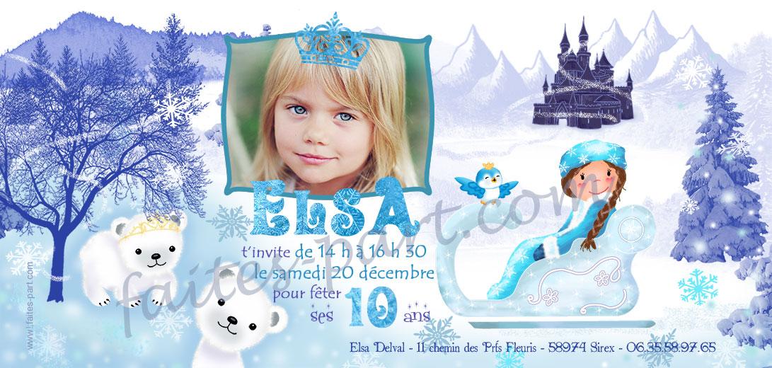 Préférence Invitation anniversaire Reine des neiges FQ66