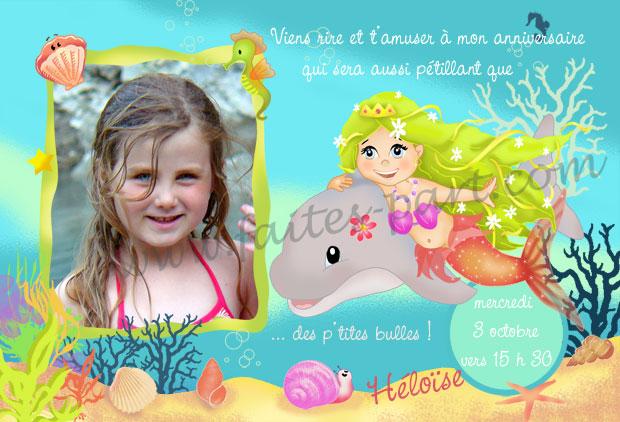 Carte Danniversaire Sirène Mer Et Dauphin Personnalisée Avec Photo
