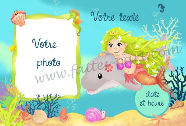 Carte Anniversaire Dauphin.Carte D Anniversaire Sirene Mer Et Dauphin Personnalisee Avec Photo