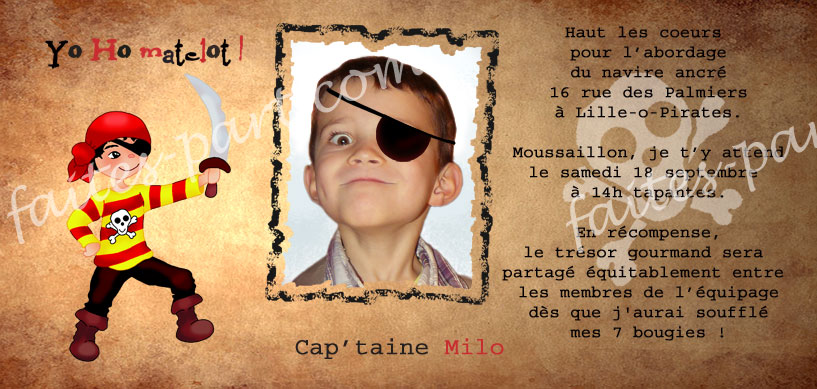 Carte d 39 anniversaire avec photo pour invitation pirate yo ho - Invitation anniversaire garcon pirate ...