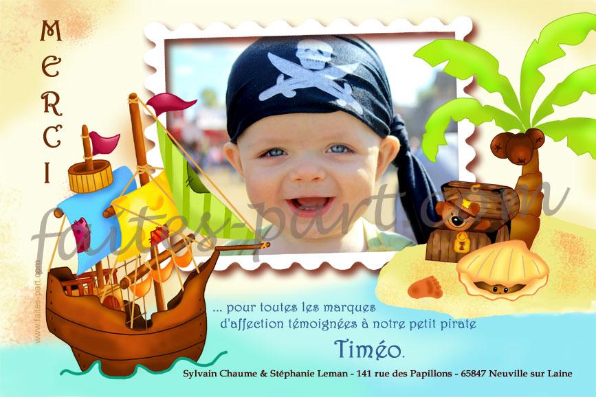 Exceptionnel A imprimer carte de remerciement avec photo, Bateau pirate YV27