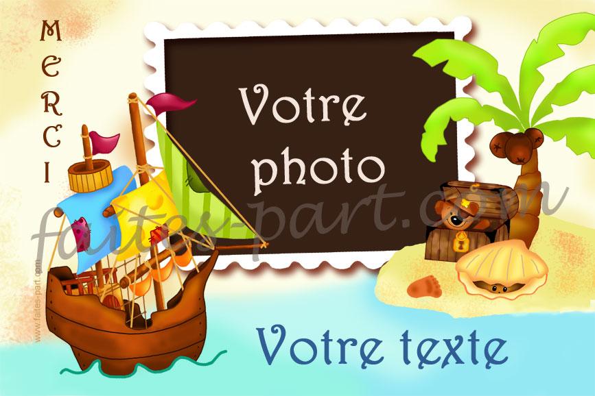 Très A imprimer carte de remerciement avec photo, Bateau pirate WM59