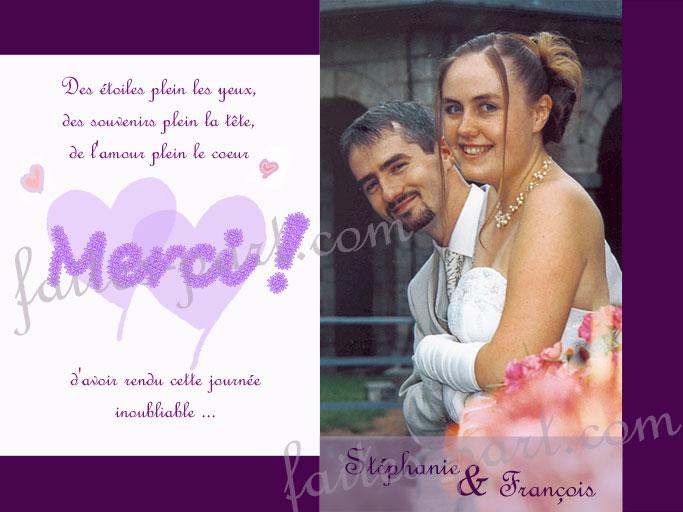 photocarte de remerciement mariage merci - Photo Remerciement Mariage