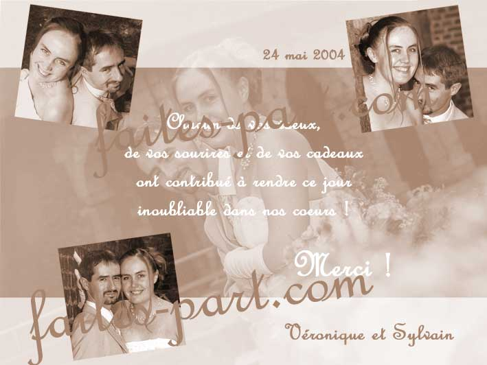 carte de remerciement mariage 4 photos ton sepia harmonis. Black Bedroom Furniture Sets. Home Design Ideas