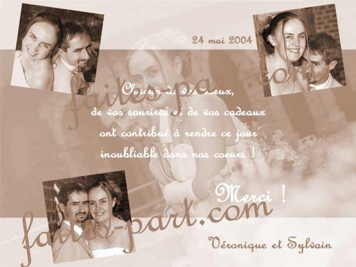photocarte de remerciement mariage en spia modle 1 - Montage Photo Remerciement Mariage