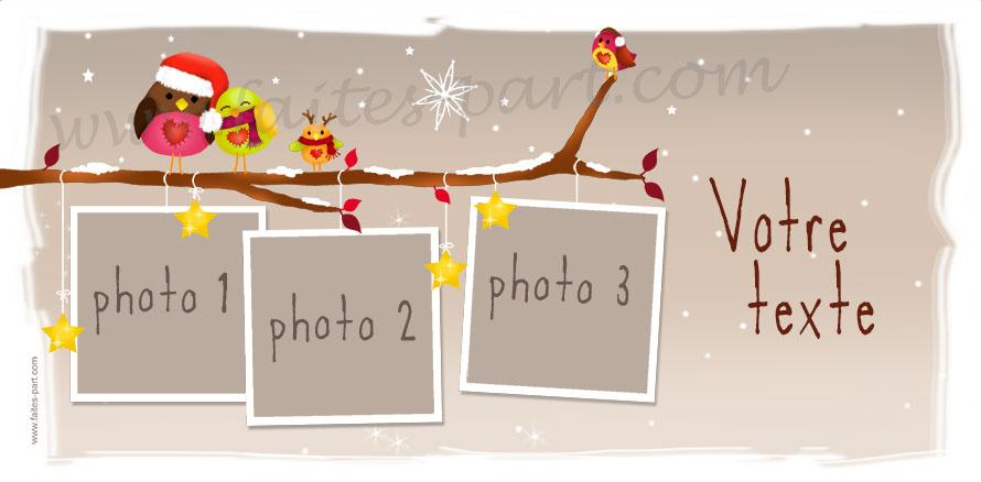 carte de voeux photo personnalis e avec des oiseaux sur une branche. Black Bedroom Furniture Sets. Home Design Ideas