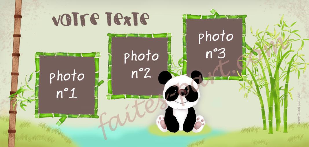 Préférence Faire-part bapteme original Panda FG98
