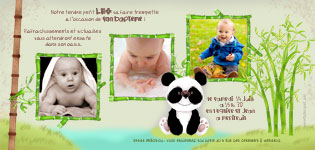 Faire part bapteme original panda