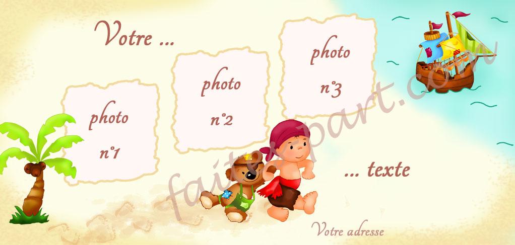 Carte d 39 invitation pour bapteme avec montage photo pirate - Decoration bapteme theme pirate ...