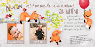 faire-part bapteme renard