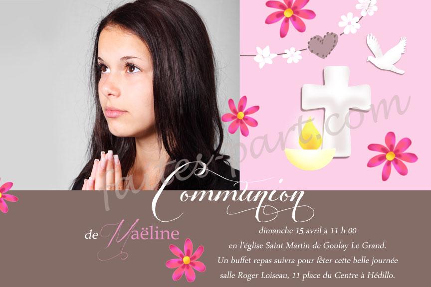 Carte Premiere Communion Solennelle Profession De Foi Confirmation