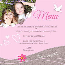Menu Communion, Profession de foi pour fille